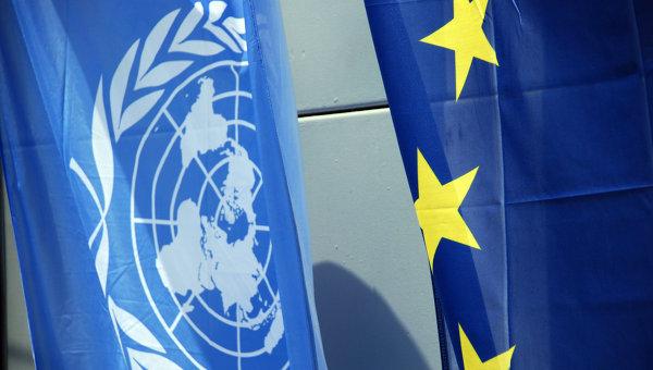 Флаги Евросоюза и НАТО. Архивное фото