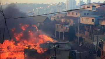 Пожар в городе Вальпараисо, Чили