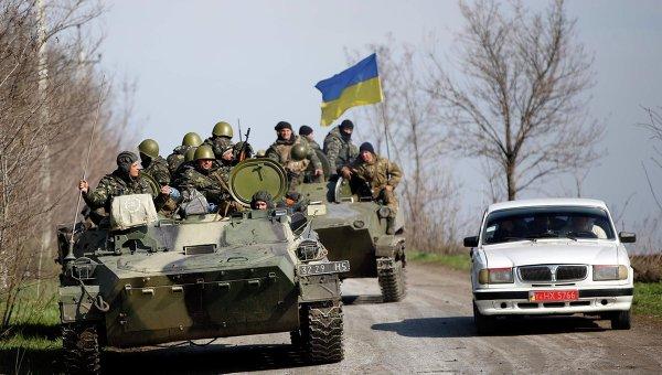 Украинские военные возле Краматорска. 16 апреля 2014