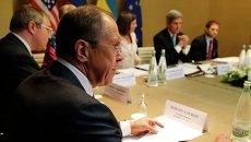 Глава МИД РФ Сергей Лавров на переговорах по урегулированию кризиса на Украине в Женеве. Архивное фото.