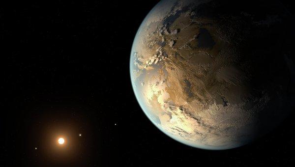 Планета Kepler-186F в системе звезды-красного карлика Kepler-186 глазами художника