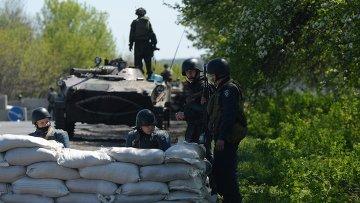 Блокпост украинской армии в окрестностях Славянска. Архивное фото