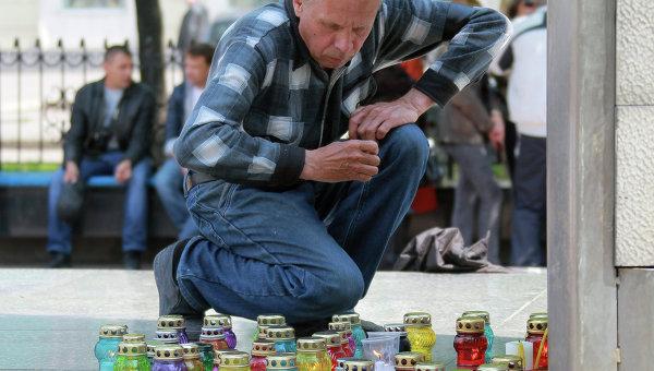 Акции в память о погибших в Одессе в Луганске