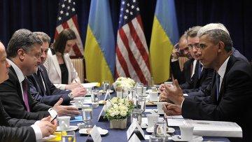 Б.Обама встретился с П.Порошенко. Архивное фото