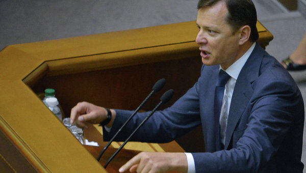 идер Радикальной партии Украины Олег Ляшко на заседании Верховной Рады