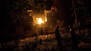 Последствия артиллерийского удара по жилым домам Славянска