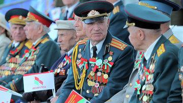 Ветераны Великой Отечественной войны на военном параде в Минске. Архивное фото