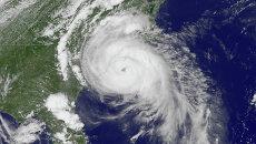 Спутниковое изображение урагана. Архивное фото
