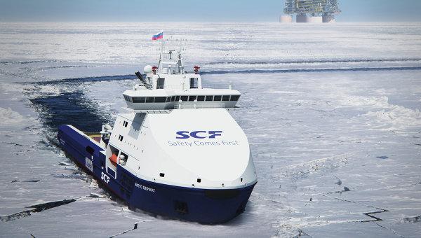 Вспомогательное судно обеспечения буровых платформ. Архивное фото