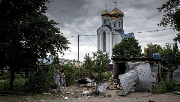 Луганск после артиллерийского обстрела. Архивное фото