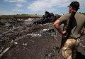 Боец народного ополчения на месте крушения самолета Boeing 777 авиакомпании Malaysia Airlines на Украине