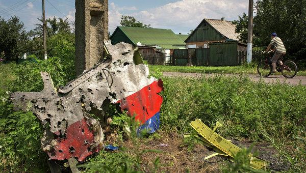 Обломок самолета Boeing 777 компании Malaysia Airlines в районе поселка Петропавловка, Украина
