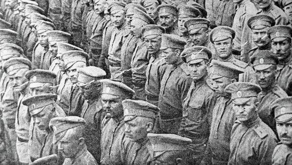 Русские солдаты, 1916 год. Репродукция фотографии