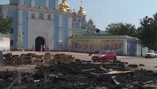 Палатки активистов Майдана сгорели дотла на Михайловской площади в Киеве
