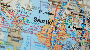 Город Сиэтл на карте США
