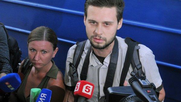 Освобожденные крымские журналисты - фотограф Максим Василенко и корреспондент издания Крымский телеграфъ Евгения Королева