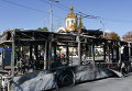 Сгоревший троллейбус на улице Донецка