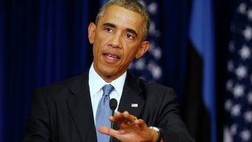 Президент Соединенных Штатов Америки Барак Обама на пресс-конфиренции во время визита в Эстонию. Архивное фото