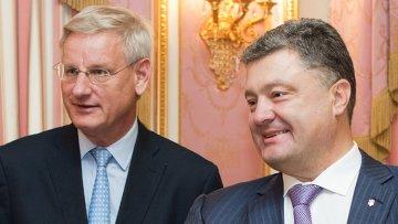 Министр иностранных дел Швеции Карл Бильдт во время встречи в Киеве