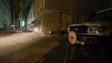 Место гибели сотрудника красного креста в Донецке