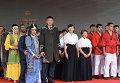 На открытии презентации российских боевых искусств: делегация Якутиии, Акиэ Абэ, Кумико Хасимото и делегация Татарстана