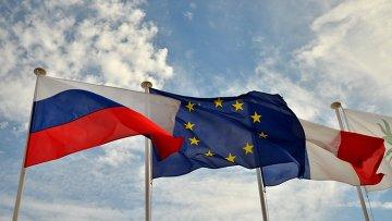 Флаги России, ЕС, Франции