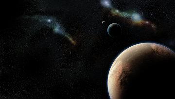 Вид на Марс и Землю, открытый космос