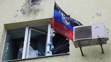 Разрушенный жилой дом в районе аэропорта города Донецка