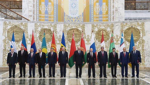 Путин на церемонии совместного фотографирования участников заседания Совета глав государств СНГ
