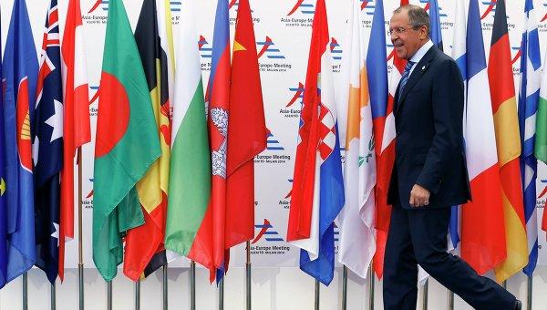 Министр иностранных дел России Сергей Лавров на саммите Азия-Европа в Милане 16 октября 2014