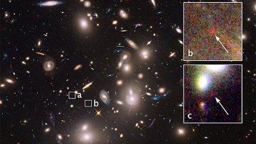 Одна из самых далеких и маленьких галактик, сфотографированных телескопом Хаббл в Кластере Пандоры (Abell 2744)
