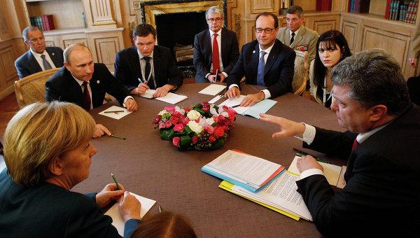 Владимир Путин, Франсуа Олланд, Петр Порошенко и Ангела Меркель на встрече в рамках форума Азия-Европа 17 октября 2014
