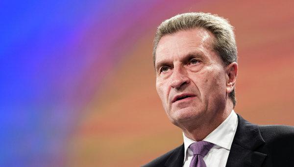 Комиссар ЕС по вопросам энергетики Гюнтер Эттингер, архивное фото.