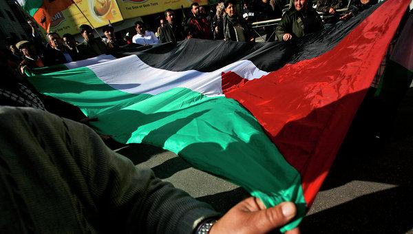 Палестинцы с национальным флагом, архивное фото