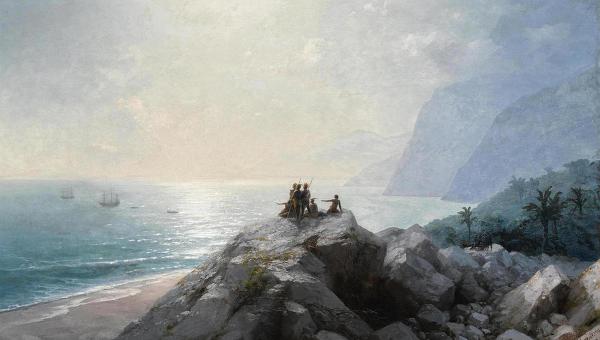 Иван Айвазовский. Прибытие флотилии Христофора Колумба к берегам Америки. 1892 год