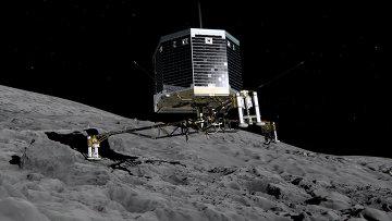 Изображение приземления модуля Фила на ядро кометы Чурюмова-Герасименко. 12 ноября 2014