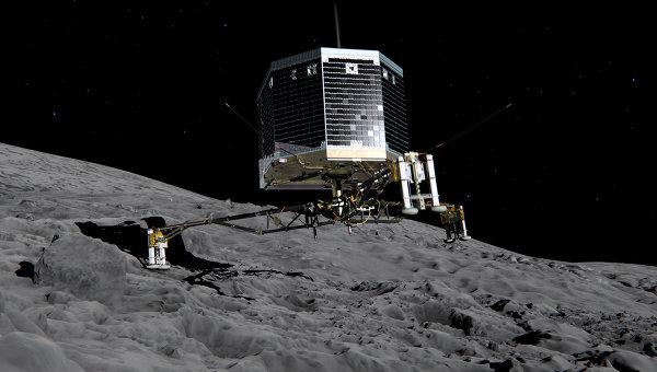 Изображение приземления модуля Фила на ядро кометы Чурюмова-Герасименко. Архивное фото