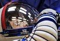 "Астронавт ЕКА Саманта Кристофоретти на проверке скафандров перед запуском ракетоносителя ""Союз-ФГ"""