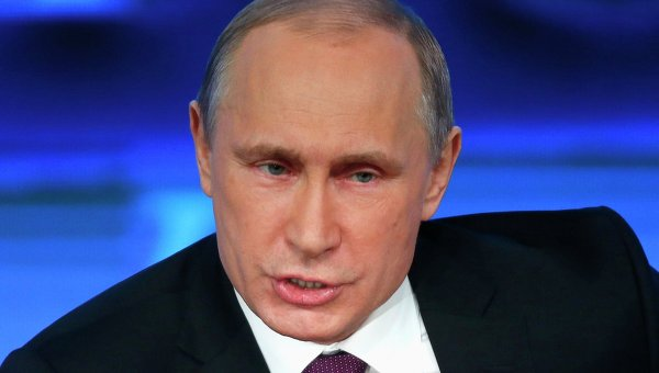 Президент России Владимир Путин на десятой большой ежегодной пресс-конференции