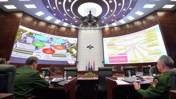 Расширенное заседание Коллегии министерства обороны РФ в здании Национального центра управления обороной России