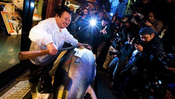 Голубой тунец, проданный за 37,6 тысячи долларов на рыбном аукционе в Токио, 5 января 2015