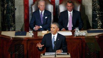 Президент США Барак Обама выступает с обращение О положении страны