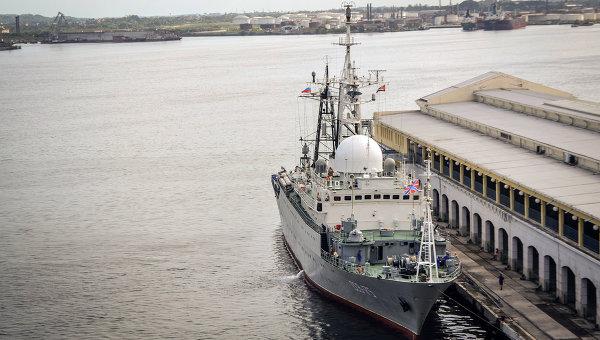 Разведывательный корабль ВМФ РФ Виктор Леонов у берегов Кубы. Архиное фото