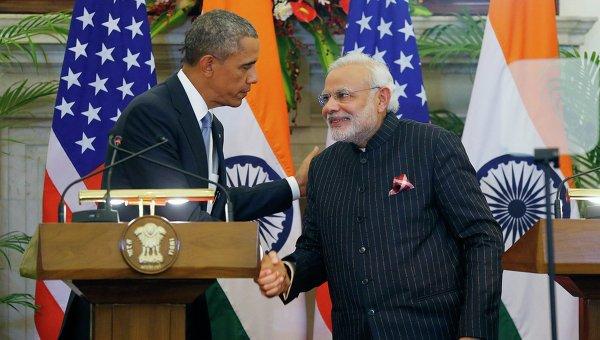 Президент США Барак Обама и премьер-министр Индии Нарендра Моди, 25 января 2015 года