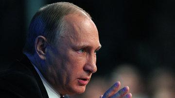 Десятая ежегодная большая пресс-конференция президента России Владимира Путина. Архив
