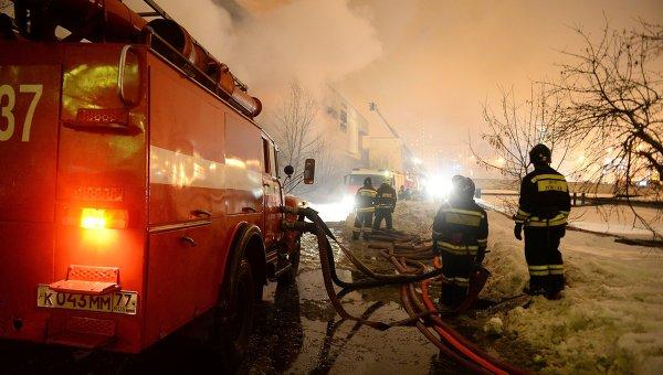 Пожар в библиотеке Института общественных наук в Москве