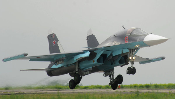 Истребитель-бомбардировщик Су-34. Архивное фото.