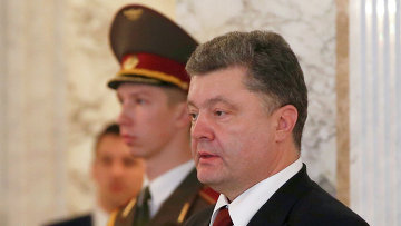 Президент Украины Петр Порошенко во время встречи во Дворце независимости в Минске