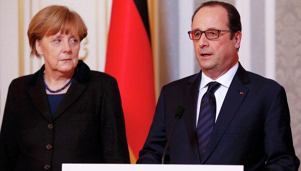 Канцлер Германии Ангела Меркель и президент Франции Франсуа Олланд во Дворце независимости в Минске