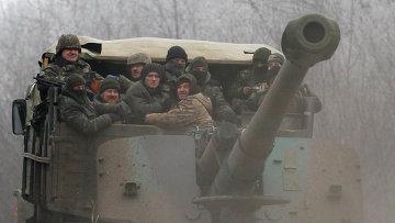 Украинские военные на дороге между Дебальцево и Артёмовском. Архивное фото